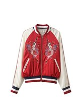 Бесплатная доставка хлопок случайные женщины новый Европейский и Американский стиль вышивка карман на молнии шить полет куртки пальто Парки