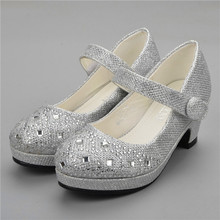 Children Princess Shoes for Girls Sandals High Heel Glitter Shiny Rhinestone Enfants Fille Female Party Dress Shoes 2018 toddler girls princess crystal rhinestone sandals little kid glitter sequin pumps big children pageant dancing dress shoes