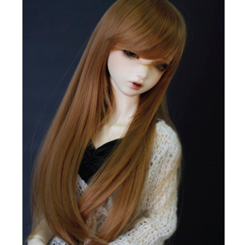 1/3 1/4 scale BJD wig black hair for BJD/SD doll accessories Free Shipping Allaosify synthetic bjd wig long wavy wig hair for 1 3 24 60cm bjd sd dd luts doll dollfie cut fringe