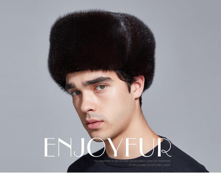 73c7688c4be ENJOYFUR winter hat earflap men real mink fur hats fur protect ear ...