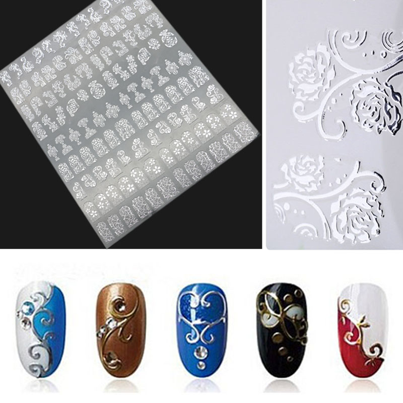 Hot Silver 3D Nail Art Stickers Decals,108pcs/sheet Metallic Flowers Mixed Designs Nail Tips Accessory Decoration Tool цены