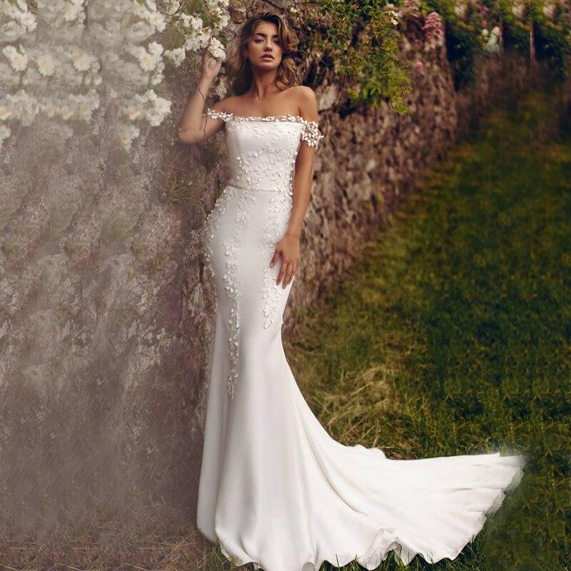 Elegant Off The Shoulder Appliques Lace Boho Bride Dress Boat Neck Backless Mermaid Wedding Dresses Robe Marriage Wedding Gowns