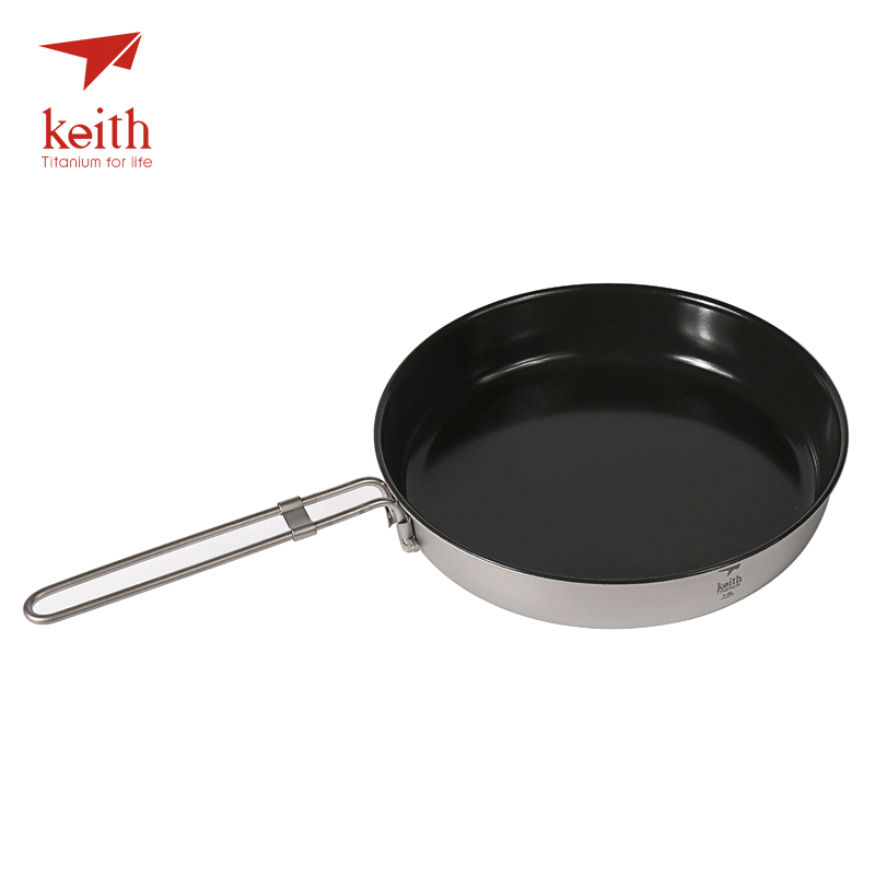 Keith Titanium antiadhésif pliant poêle poignées marmite plein air Camping batterie de cuisine Pot vaisselle couverts 2 personne 1L Ti8150