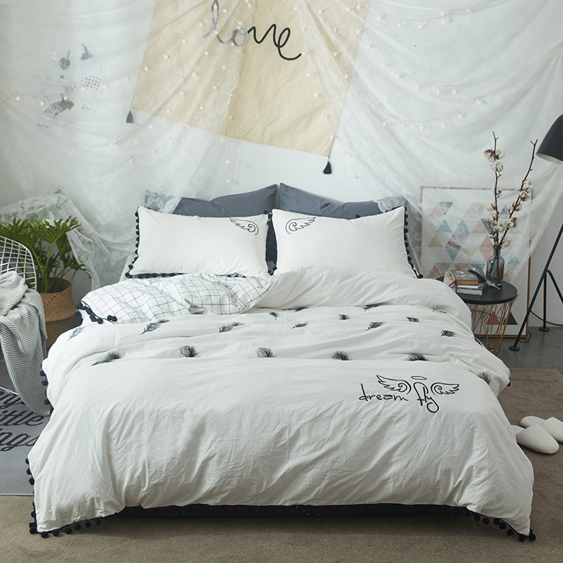 washed cotton bedding sets white duvet cover feathers printed queen and king size design for children - White Duvet Cover Queen