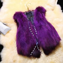 Autumn and winter women's V-neck 100% genuine fox fur short fur vest waistcoat  lady's fashion front length back short vest