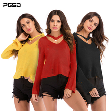 PGSD Autumn Winter Simple fashion Pure color Women Clothes Long sleeves V-neck Necking beads Pullover hollow knitted Sweater