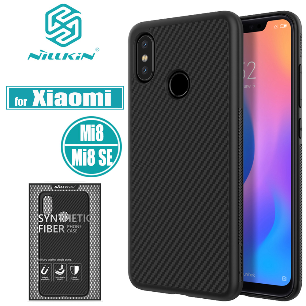 Nillkin Case Xiaomi Phone-Bag-Cases Mi8-Cover Carbon-Fiber Hard-Plastic With Magnetic