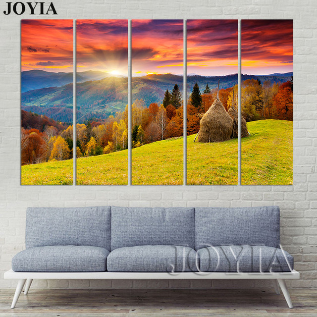 Autumn Scenery Wall Art Pictures Sunset Mountain Color Forest Trees ...