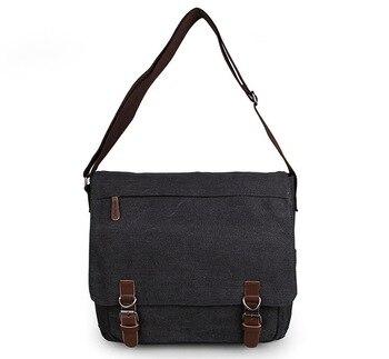 Black Excellent Quality Trimming 16Oz Canvas Single Messenger Bag Book Bag 9027A