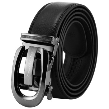 Leather Strap Auto Stainless Steel Adjust Buckle Belt