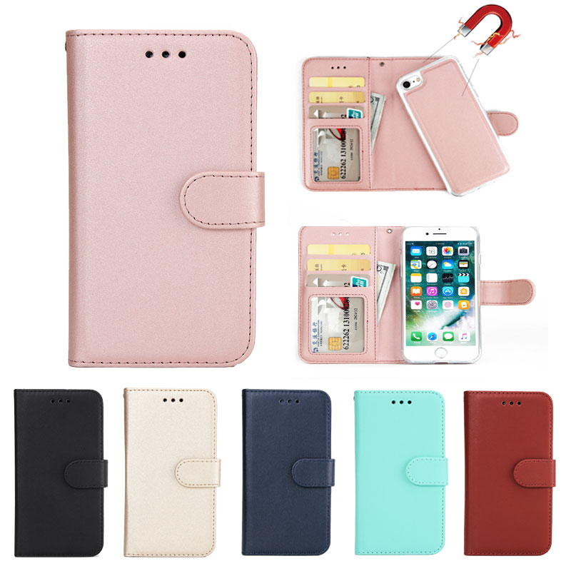 Luxury Flip Leather Wallet 2 in 1 <font><b>Phone</b></font> <font><b>Case</b></font> For <font><b>iPhone</b></font> X 8 7 6 6S Plus 5 5S <font><b>5SE</b></font> Magnet Removable Retro Ultra Slim Cover Fundas image