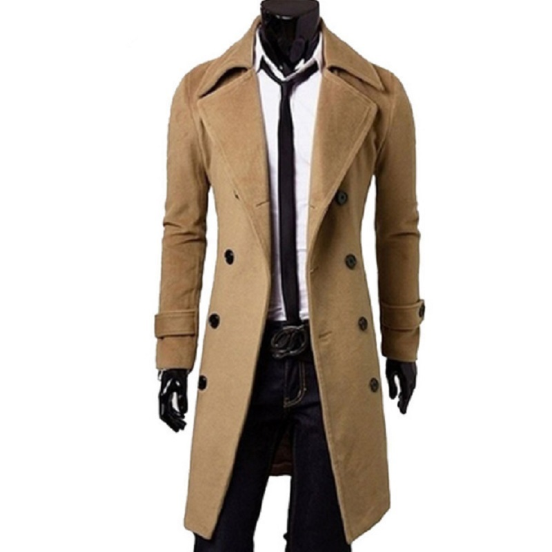Men Trench New vogue Double Breasted Long Wind Dust Coat Male Winter Warm Wool Blend Overcoats Jackets Plus Size 6XL Y1817