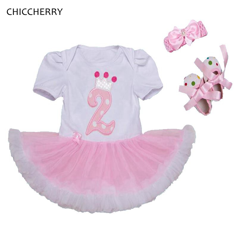 2 Years Toddler Birthday Outfits Lace Romper Dress Headband Crib Shoes Baby Girl Set Kids Clothes Infant Clothing Conjunto Bebe 0 18 summer infant toddler shoes breathable crib baby shoes soft sole fashion baby girl shoes