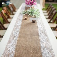 OurWarm Rustic Jute Table Runner Burlap ตารางผ้า Garland Party Favors Boho งานแต่งงานตกแต่งตารา(China)