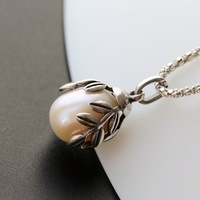 Ms fortune pavilion silver wholesale fashion 925 sterling silver pendant handmade silver inlaid natural pearl pendant