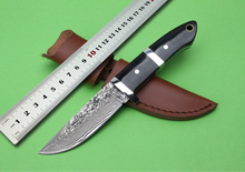 100%NEW High quality Damascus, Terminator Hunting Knife Stainless Steel + horns Handle ,Damascus camping Knife