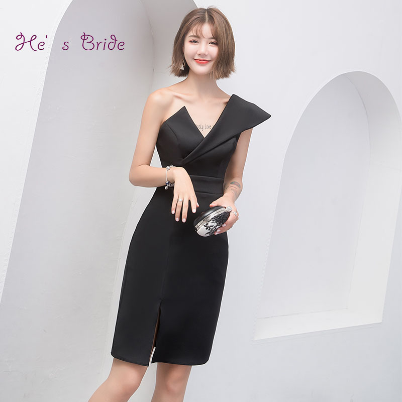 Weddings & Events Hes Bride Elegant Black Cocktail Dress V-neck Sleeveless One-shoulder Sashes Knee-length Party Formal Dresses Robe De Soiree In Short Supply