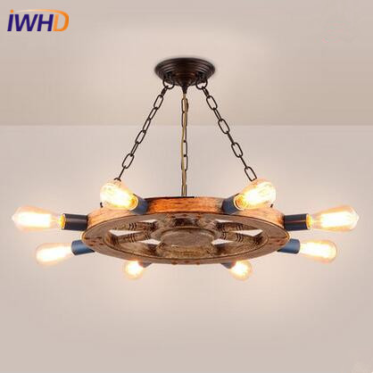 IWHD Industrial Vintage LED Pendant Lights Creative Resin Rudder Pendant Lamp E27*8 Retro Droplight Fixtures For Home Lighting 300l h 4w 8 led lights resin pottery lamp mini fountain pump
