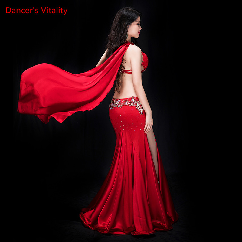 New 2 Piece Of Women Luxury Oriental Costume Dance Bra Panel Outside Egypt, Performance Dance Show Red Dress, Purple, Royal Blue