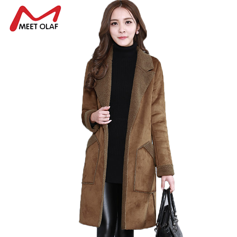 2017 Women   Suede     Leather   Coats Winter Autumn Long Jacket Faux Sheepskin Outerwear Female Overcoat Trench coats Windbreaker Y1426