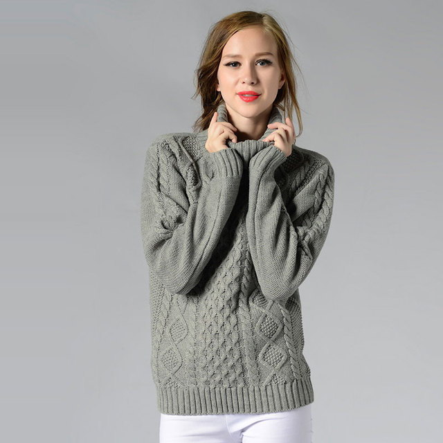 5b4d04fd082fe Pullover Women's Jumper Turtleneck Sweater Female Jumper Women Warm Sweater  thick Winter Cable Knitted Oversized Sweater Z5457