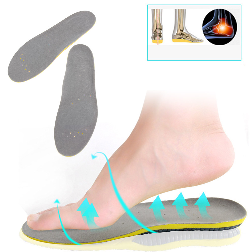 Orthotic Arch Support Instep Cowskin Flat Foot Shoe Pad PU Leather Latex Orthopedic Insole Antibacterial Active Carbon Sporting