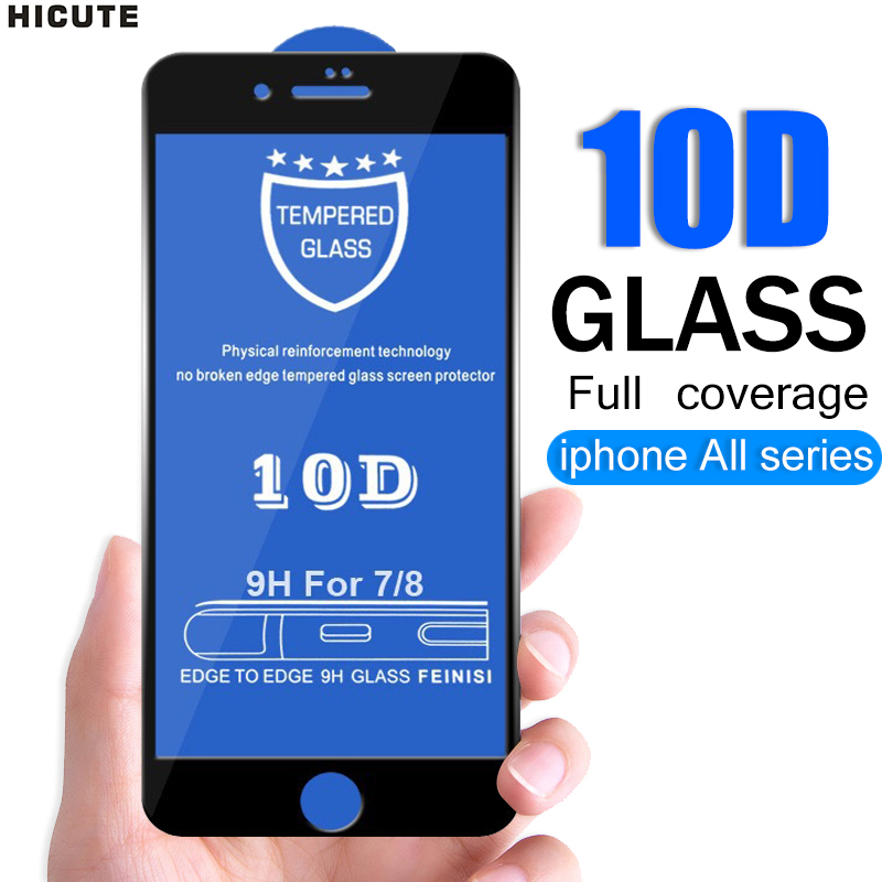 10D Full Coverage Protective Glass For IPhone 6 6S 7 8 Plus X XR XS MAX Glass On Iphone 7 8 6 6S X XR XS MAX Screen Protector