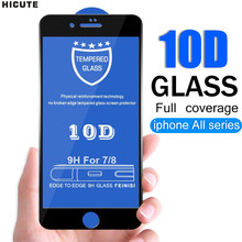 10D Full coverage protective glass for iPhone 6 6S 7 8 plus X XR XS MAX glass on iphone 7 8 6 6S X XR XS MAX screen protector(China)