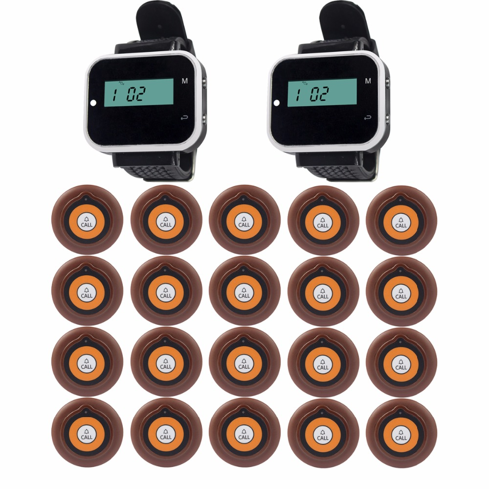 2 Watch Receiver+20pcs Call Button Pager Wireless Calling System Restaurant Equipments Guest Service Waiter Calling System F3229 service call bell pager system 4pcs of wrist watch receiver and 20pcs table buzzer button with single key