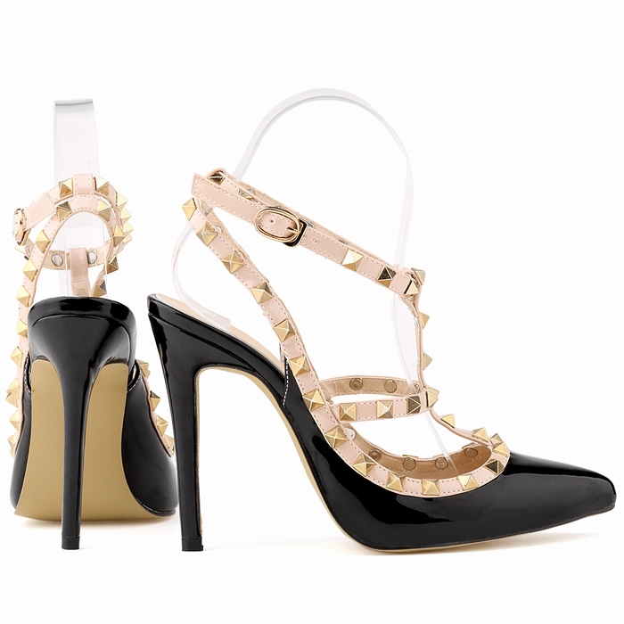 Fashion rivets shoes high shoes  pointed toe hasp thin heels sandals shoes rivet  pointed toe shoes female sandals  302-5PA 8cm 2015 spring and autumn single shoes cutout hasp pointed toe high heels ol thin female fashion sandals
