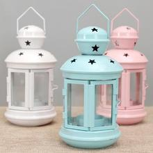 Vintage American wrought candlestick lanterns floor windproof lights wedding Gifts candle table Decoration Accessories A35