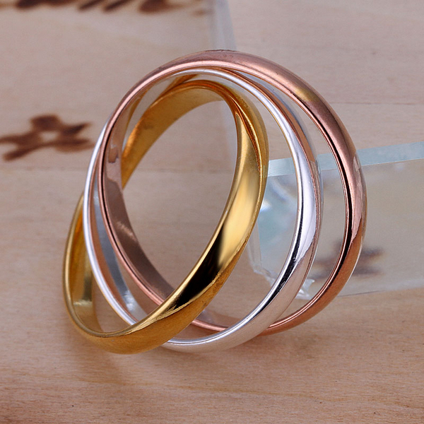 Fashion 3 Color 3 Circle Plain Ring 18K Gold Rose Golden Plated Ring