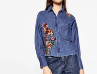 2017 Autumn Za Women Foral Embroideried Denim Loose Blouses Flower Shirt Cotton Womens Camisa Loose Blusas