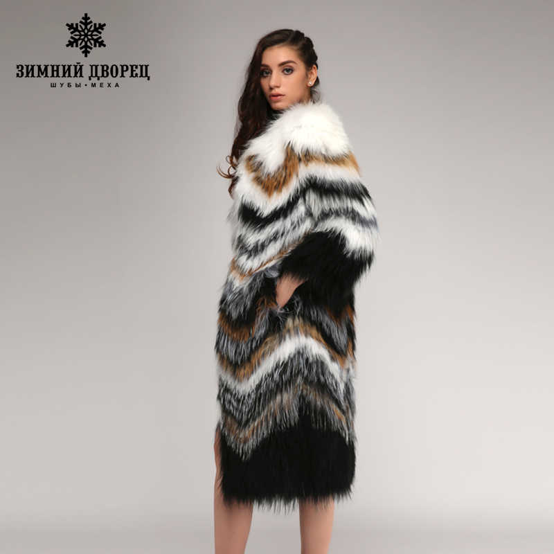 Winter Palace 2017 คลาสสิกสไตล์ Fox Coat ของแท้หนังถัก FUR Coat,แฟชั่น Slim ขนสัตว์ฤดูหนาว Fox เสื้อผู้หญิง
