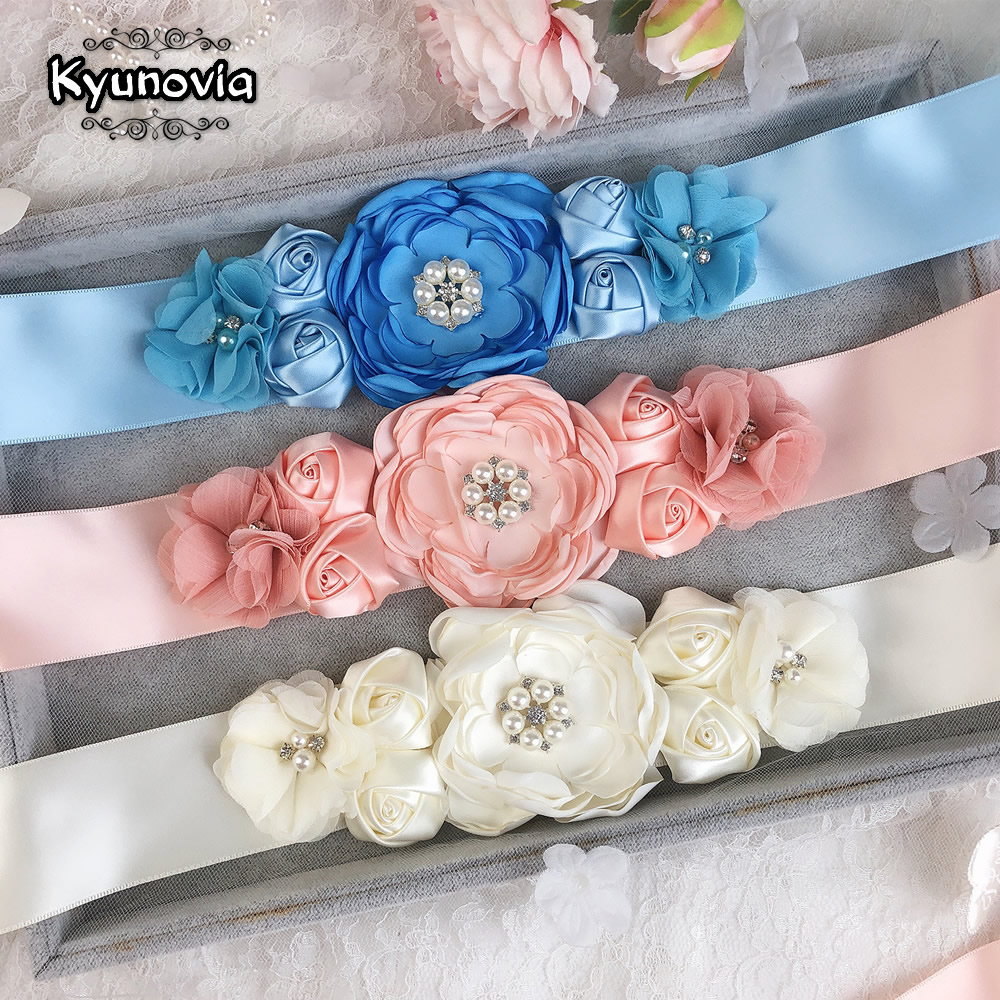 Kyunovia Womens Elegant Satin Flower Sash Handmade Beaded Waistband Bridal Ribbon Cummerbunds Wedding Dress Waist Belt FB31