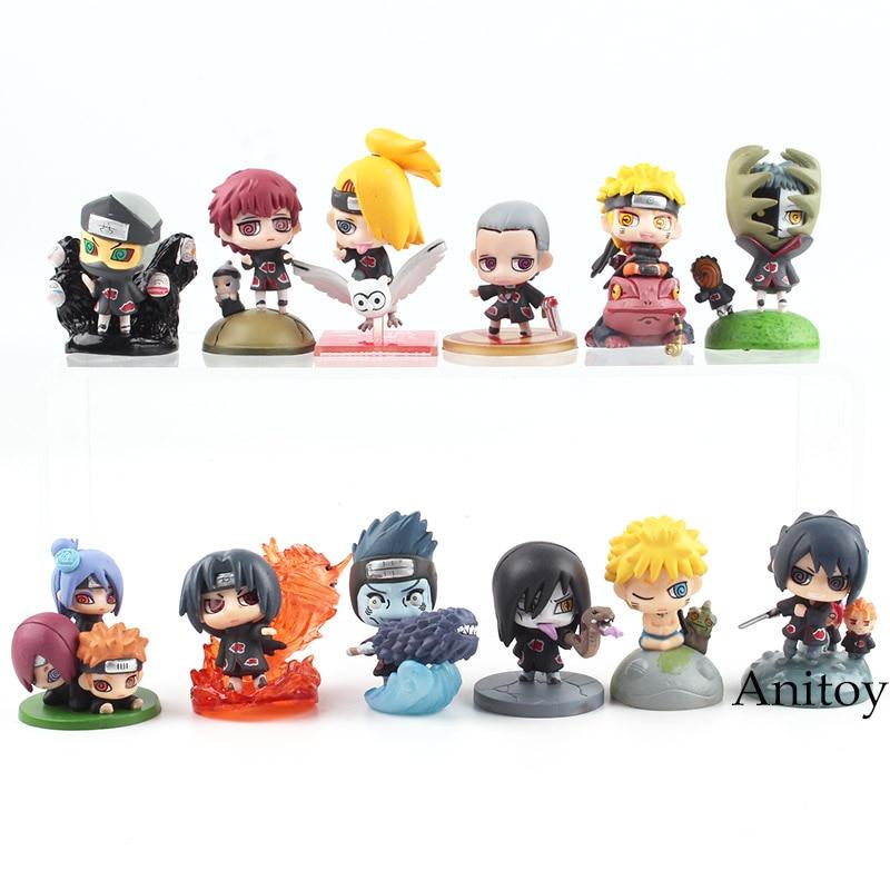 Naruto Shippuden Figure Naruto Itachi Sasuke Orochimaru Konan Pain Kisame Yahiko Mini PVC Action Figure Toy 6pcs/set 3.5-5.5cm