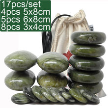 купить new 18pcs/set green jade body massage hot stone SPA with canvas CE and ROHS 5pcs(5x8)+5pcs(6x8)+8 по цене 2872.29 рублей