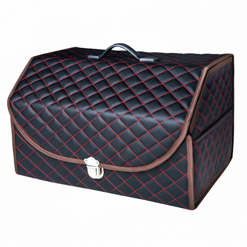 Premium Embroidered Microfiber Leather Folding Car Trunk Organizer Storage Box With Lock and Cover For Vans SUV Cars Trucks in Stowing Tidying from Automobiles Motorcycles