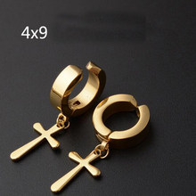 1 Piece Punk Stainless Steel Cross Fake Stud Earring Ear Clip Cuff Huggie Piercing Jewelry For Men Women(China)