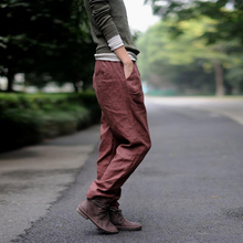 Johnature Women Linen Pencil Pants Red 2019 Autumn Loose Casual Elastic Waist