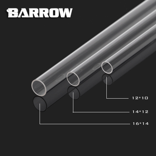 Barrow High quality  PMMA 500mm 10*12mm/12*14mm/14*16mm water cooling tube / pipe  water cooling system use. barrow pmma ddc pump integration reservoir mod kit pbtt ytw