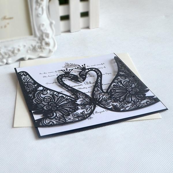 Elegant style swan design invitations creative paper cut wedding