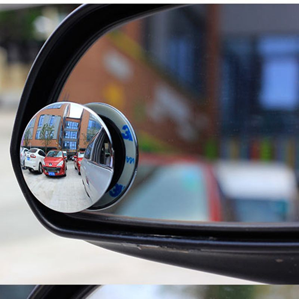 2pcs Car Rearview Convex Mirror For Parking Safety 360 Degree Rotable Rimless Universal Wide Angle Round Blind Spot Mirrors