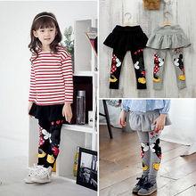 Новые милые комплекты одежды для маленьких девочек; теплая весенне-осенняя юбка; штаны; леггинсы; черный Рисунок Поцелуй скинни для 2, 3, 4, 5, 6, 7 лет
