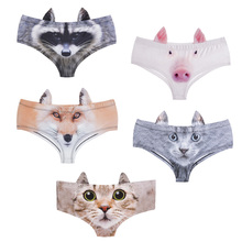 5pcs/set 3D Animal Print Cute Sexy Briefs with Pig/Cat/Fox Ear Underwear For Women Lingerie Intimates Female Low-Rise Panties
