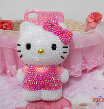 Pink Color 3D Cute Bling Bling Good Quality Hello Kitty Flatback Mobile Case for iphone 6 plus case for samusng case