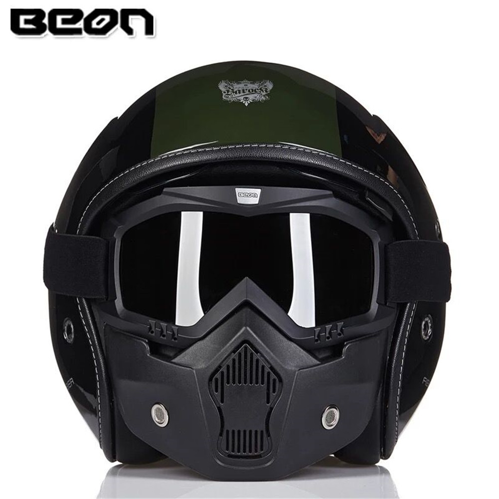 BEON Fiberglass Motorcycle Helmet Police Chopper Open Face B11782 Vintage Moto Casque Casco motocicleta Capacete with Face Mask