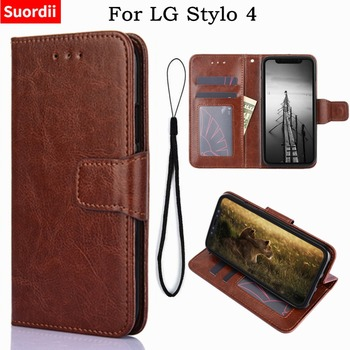 For LG Stylo 4 Case 6.2 Flip Crazy Horse Wallet PU Leather Back Cover Phone Case For LG Stylo4 LM-Q710MS With Stand Card Holder wallet