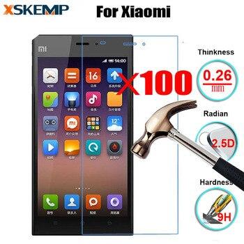 100Pcs 0.26mm Screen Protector For Xiaomi Mi2 Mi3 Mi4 5 Note 4S 5S Plus 5C wholesale 9H 2.5D Arc Edge Glossy Tempered Glass Film