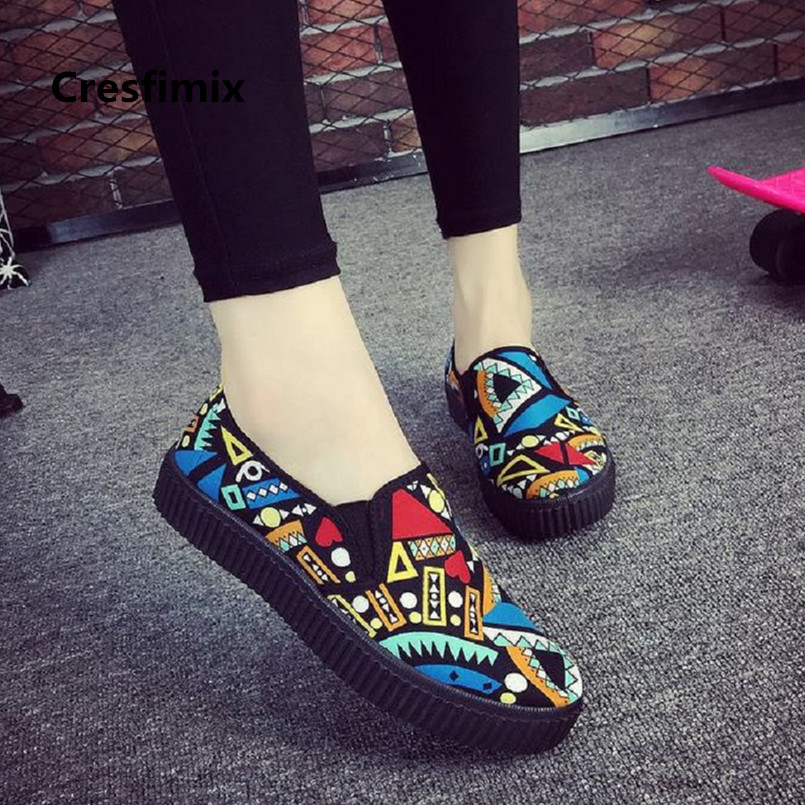 Cresfimix zapatos de mujer women fashion canvas spring & summer slip on flat shoes lady cute casual street floral shoes a3024 стоимость